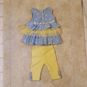 LittleLass Yellow and Blue 2 Piece Outfit